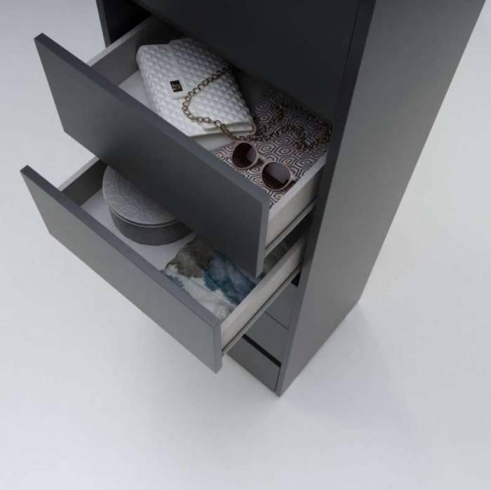 Comodă cu șase sertare Ariel, 152x42x50 cm, melamină/sticlă, multicolor