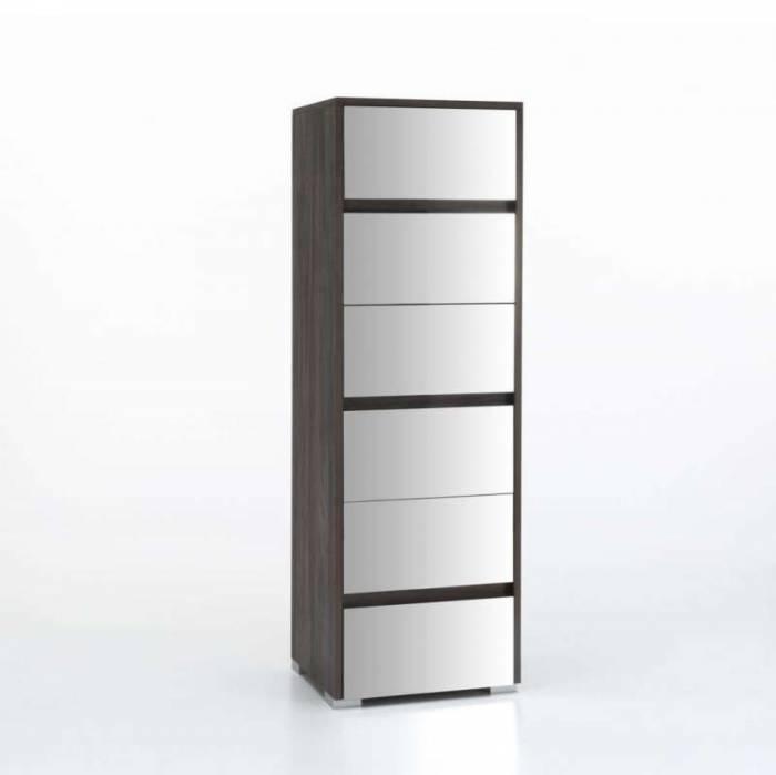Comodă cu șase sertare Rio, 152x42x50 cm, melamină/sticlă, multicolor