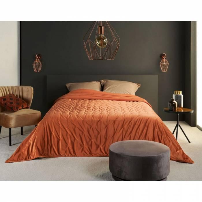 Cuvertură catifea portocalie Pandore 240x250 cm