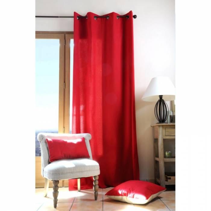Draperie roșie din bumbac Duo Uni Rouge 135X240 cm