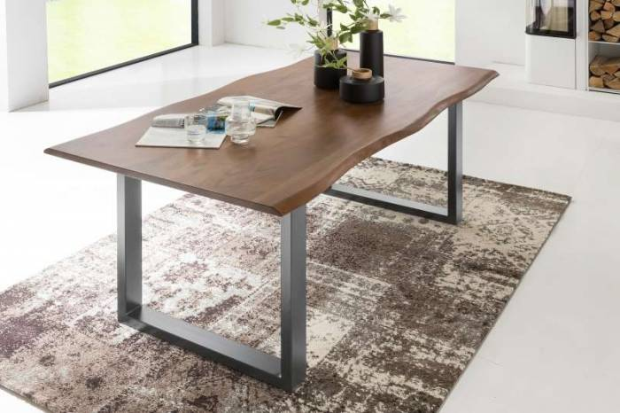 Masă dining Farnesia 200x100x77 cm, lemn/metal, cadru argintiu