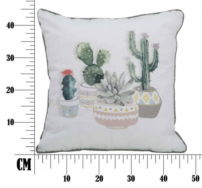 Pernă Cactus, 45x45x6 cm, poliester, alb/ verde