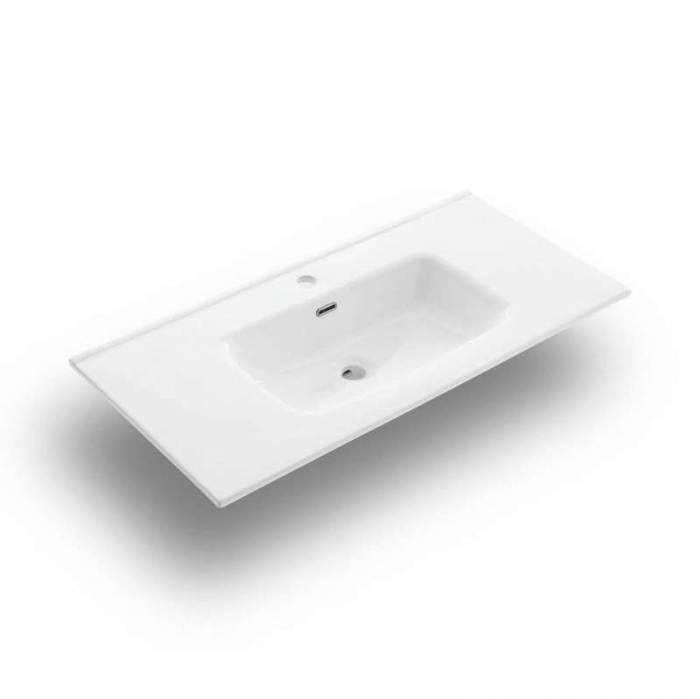 Set 4 piese de baie Malmo, 190x47x91 cm, melamină/ aluminiu/ abs/ sticlă/ ceramică/ metal, maro