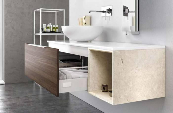 Set mobilă baie Mactan 3 piese, 220x46x135 cm, lemn/ piatră/ sticlă/ rasina, multicolor