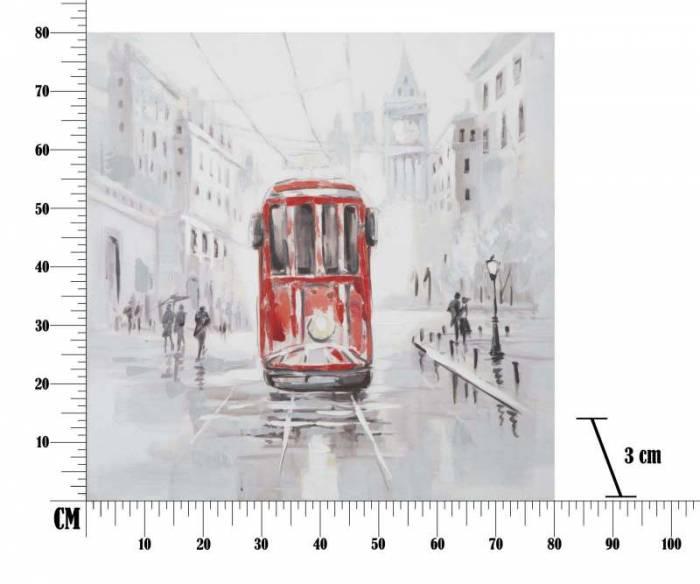 Tablou Tram, 80x80x3 cm, lemn de brad/ canvas, multicolor