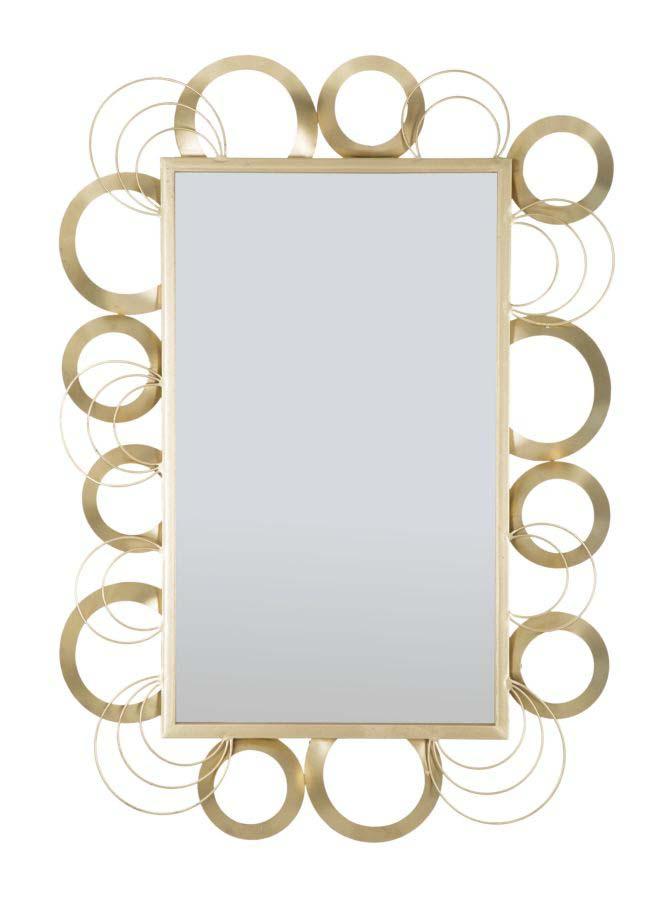 Oglindă de perete Globe, 108x76,5x3 cm, metal/ sticla, auriu poza