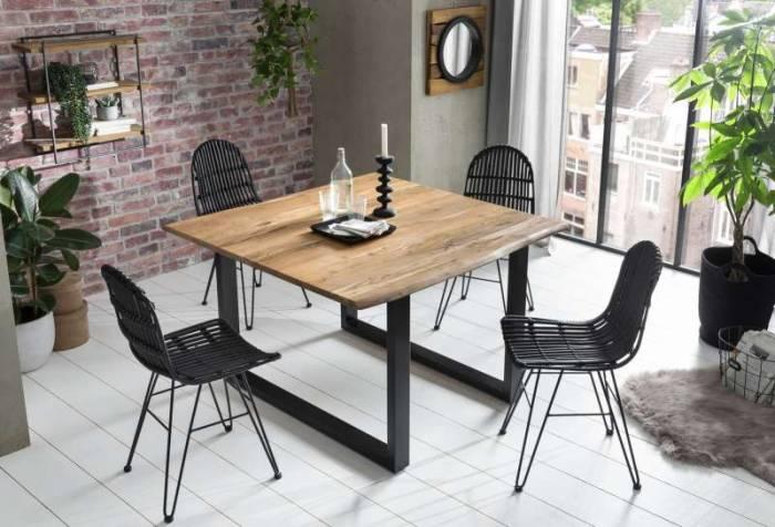 Masă de dining, blat pătrat Freya Acacia 26 mm, lemn/metal
