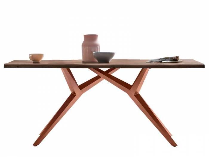 Masă de dining configurabilă Freya Vintage Oak, lemn/metal, 140x80, Spider, Maro