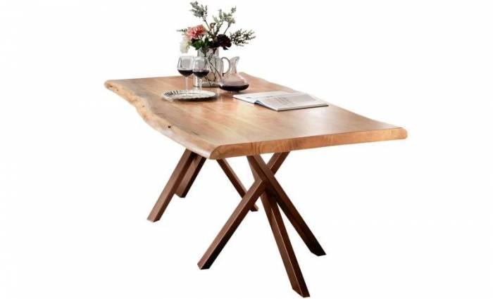 Masă de dining Freya Acacia 56 mm, 78x100x180 cm, lemn/ metal, maro