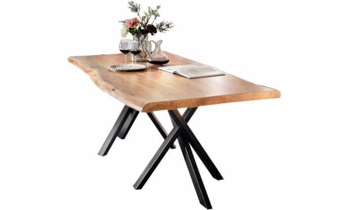 Masă de dining Freya Acacia 56 mm, 78x100x200 cm, lemn/ metal, maro/ negru