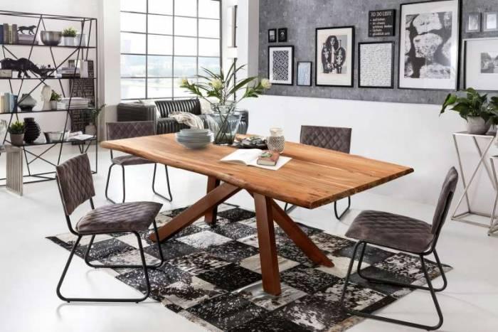 Masă de dining Freya Acacia 56 mm, 79x100x240 cm, lemn/ metal, maro