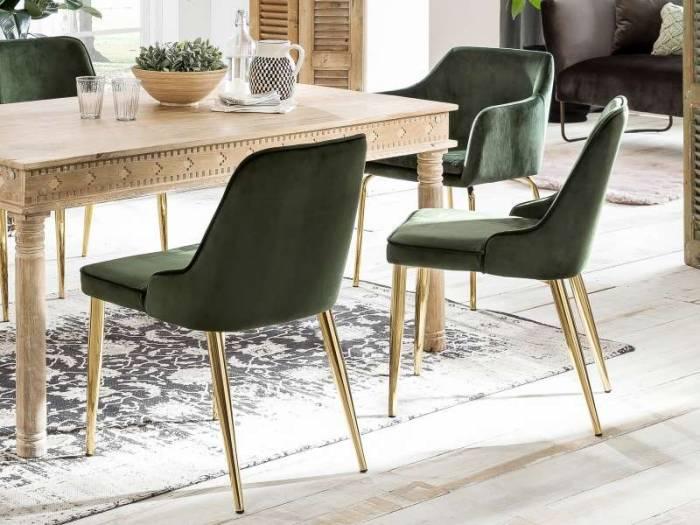 Fotoliu dining Arlo 83x59x58 cm, catifea/oțel, Verde