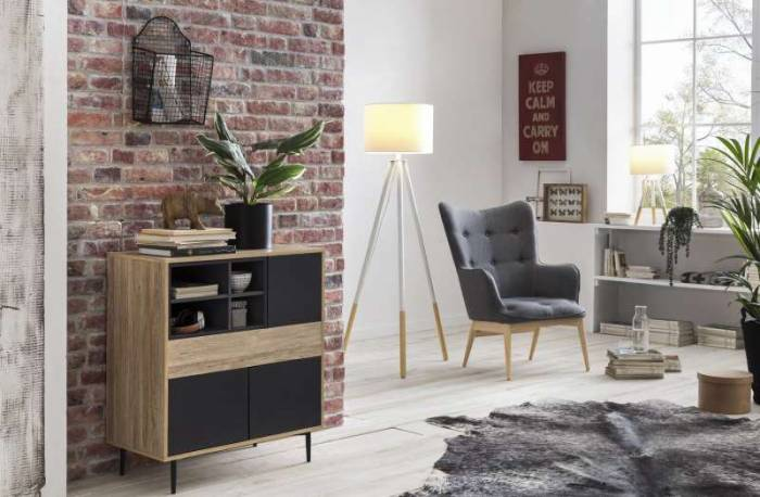 Fotoliu scandinav Olsen 98x71x87 cm, lemn/textil, Gri antracit