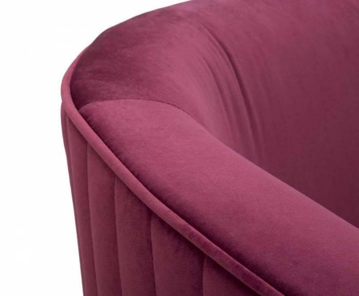 Canapea fixă Vienna, 75x124x64 cm, placaj/ textil/ metal, bordo
