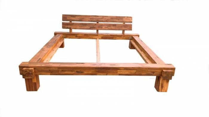 Cadru de pat Burma, lemn de acacia, natur
