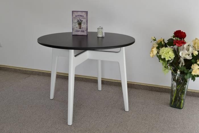 Masă cu blat rotund, stil scandinav Oliver 100x76 cm, lemn/MDF