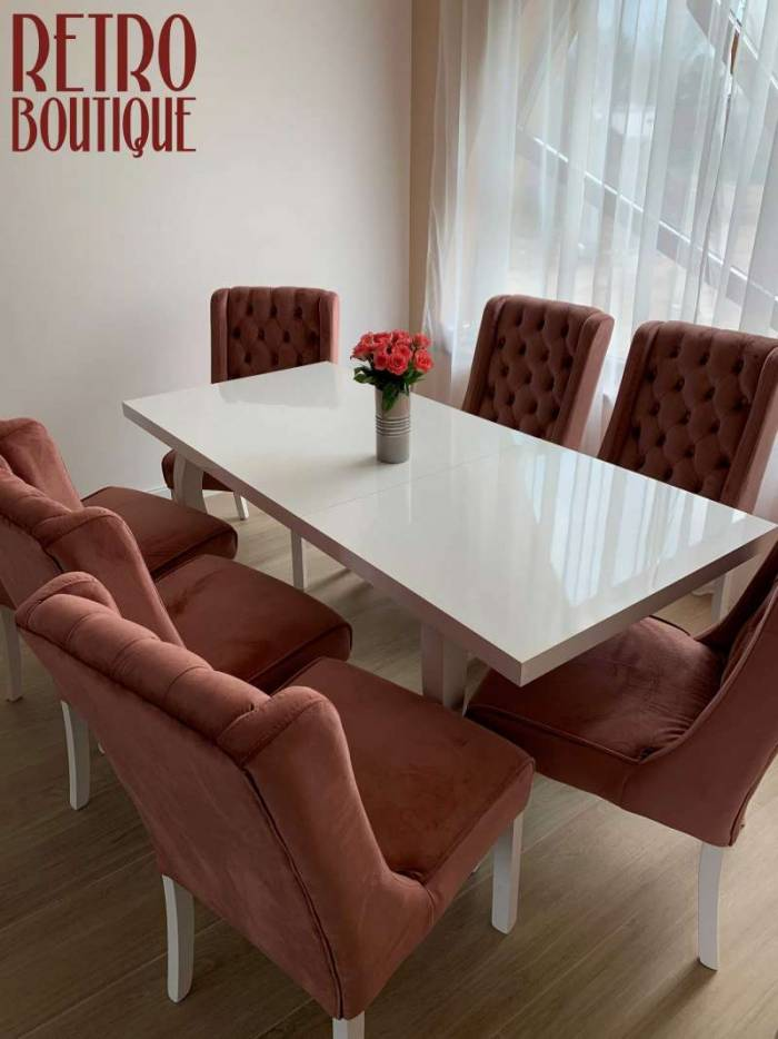 Masă extensibilă de dining Salzburg, lemn de fag/MDF, alb