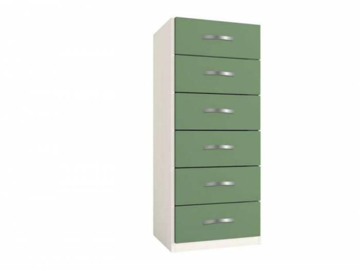 Dulap cu șase sertare Little, 119x37x47 cm, lemn, verde deschis