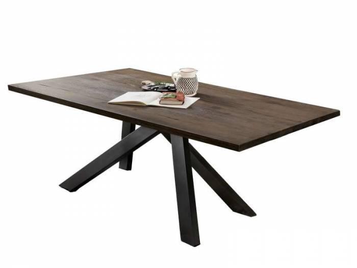 Masă de dining configurabilă Freya Carbon Oak, stejar/metal, 180x90, Quapod B, Negru