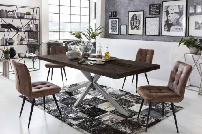 Masă de dining configurabilă Freya Carbon Oak, stejar/metal, 180x90, Quapod A, Argintiu