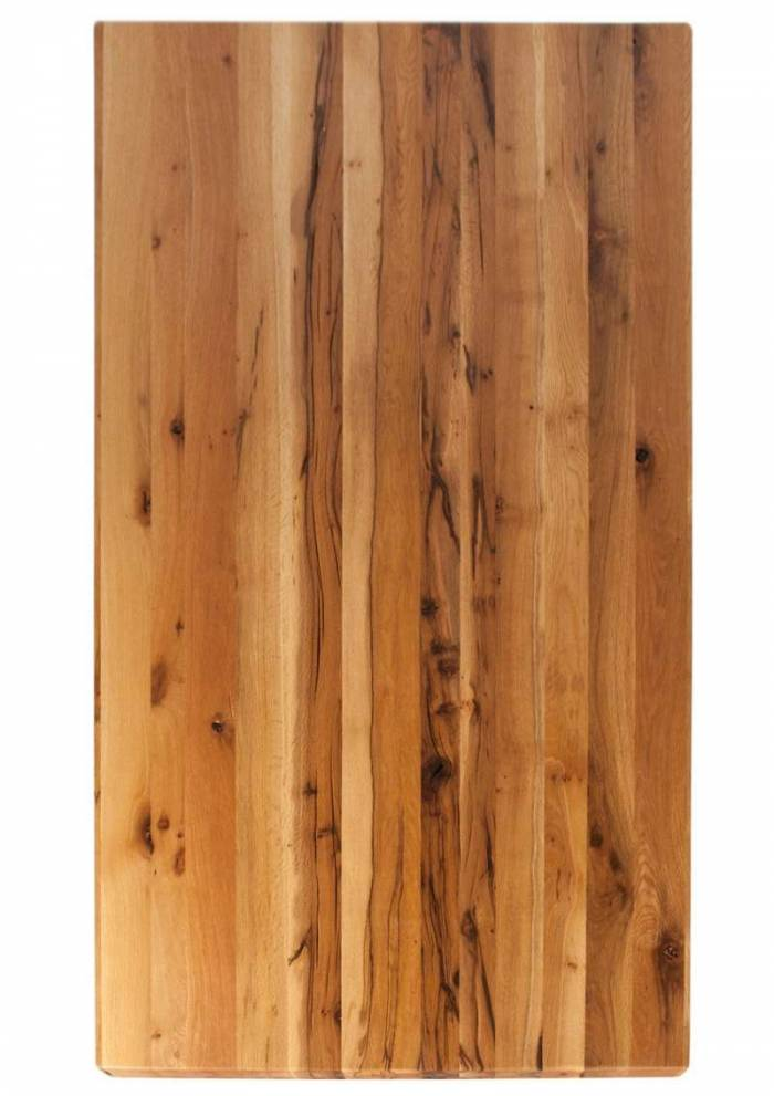 Masă de dining configurabilă Freya Oiled Oak, stejar/metal, 160x85, Tripod B, Maro