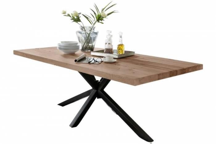 Masă de dining configurabilă Freya Oiled Oak, stejar/metal, 160x90, Quapod A, Negru