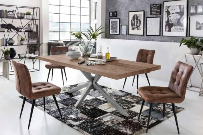 Masă de dining configurabilă Freya Oiled Oak, stejar/metal, 160x90, Quapod A, Argintiu
