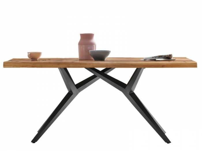 Masă de dining configurabilă Freya Oiled Oak, stejar/metal, 140x80, Spider, Negru