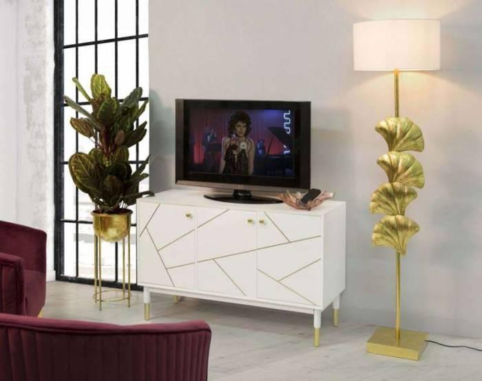 Bufet Luxy, 75x120x45 cm, lemn de pin/ mdf/ metal, alb/ auriu