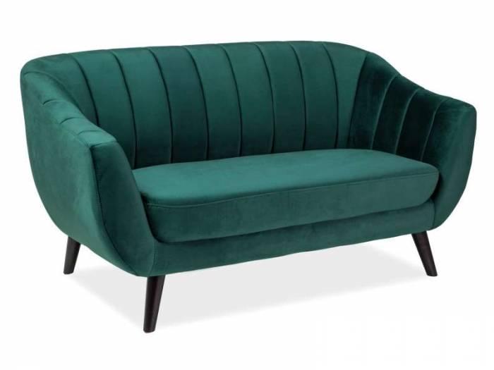 Canapea de 2 locuri Elite, 156x83x56 cm, catifea/lemn, verde
