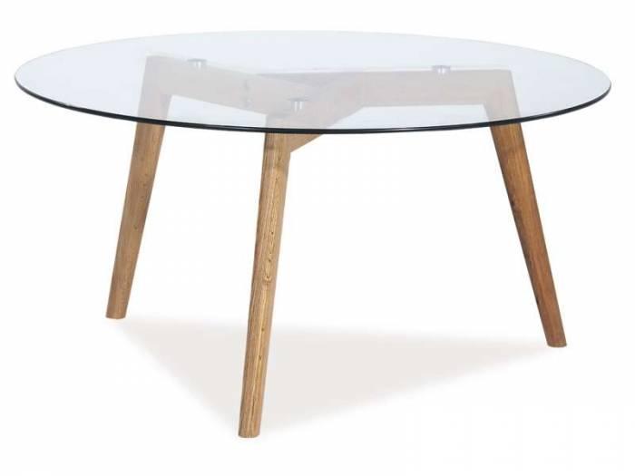 Masă de living Oslo, 80x80x45, sticlă/lemn, maro