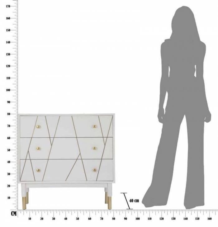 Comodă Luxy, 80x80x40 cm, lemn de pin/ mdf/ metal, alb/ auriu