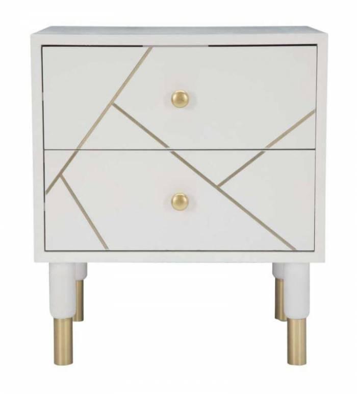 Noptieră Luxy, 51x45x40 cm, lemn de pin/ mdf/ metal, alb/ auriu