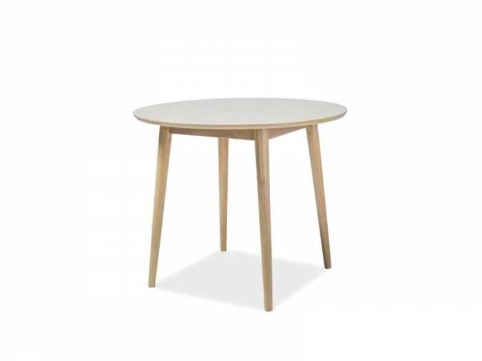 Masă living Nelson, 90x90x75 cm, lemn/mdf/furnir, alb/maro