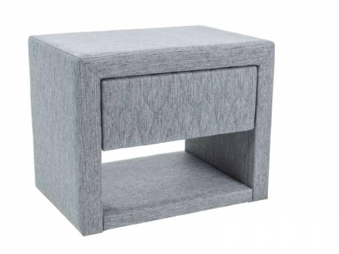 Noptieră tapițată Azurro, 40x35x50 cm, textil, gri