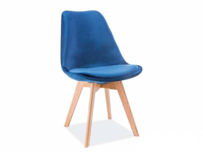 Scaun dining Dior, 86x52x48 cm, catifea/lemn, albastru/maro