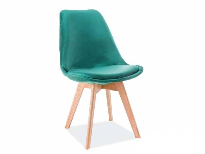 Scaun dining Dior, 86x52x48 cm, catifea/lemn, verde/maro