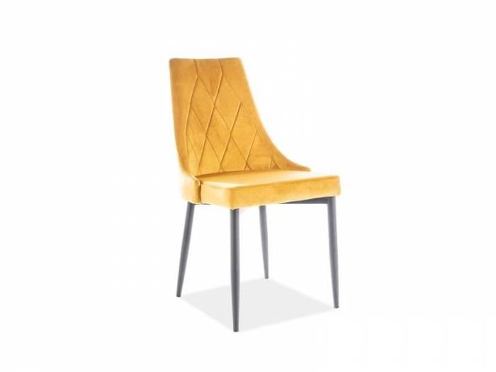 Scaun dining Trix, 88x46x46 cm, catifea/metal, galben/negru