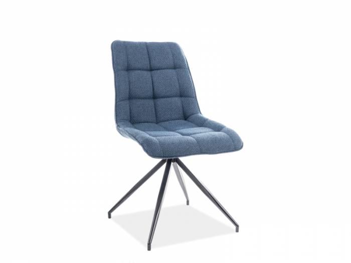 Scaun living Chic, 88x49x43 cm, metal/textil, albastru