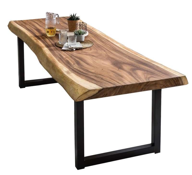 Masă de dining Freya Suar 80 mm, 78.5x100x150 cm, lemn/ metal, maro/ negru poza