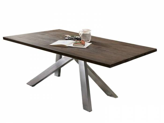 Masă de dining configurabilă Freya Carbon Oak, stejar/metal