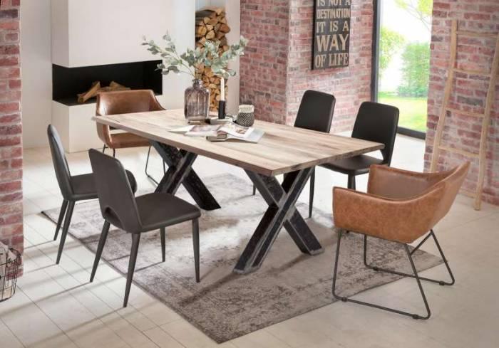 Masă de dining configurabilă Freya White Oak, stejar/metal, 140x80, X Shape, Negru