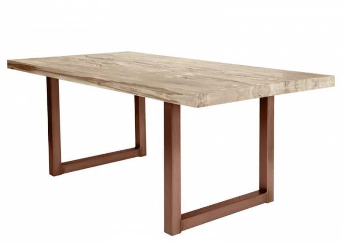 Masă de dining configurabilă Freya White Oak, stejar/metal, 180x90, U Shape, Maro