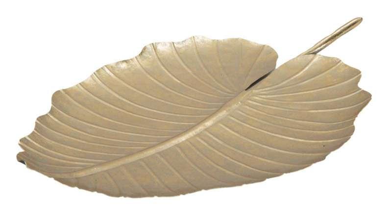 Decorațiune Glam frunză, 35,5x23x2 cm, metal, auriu poza