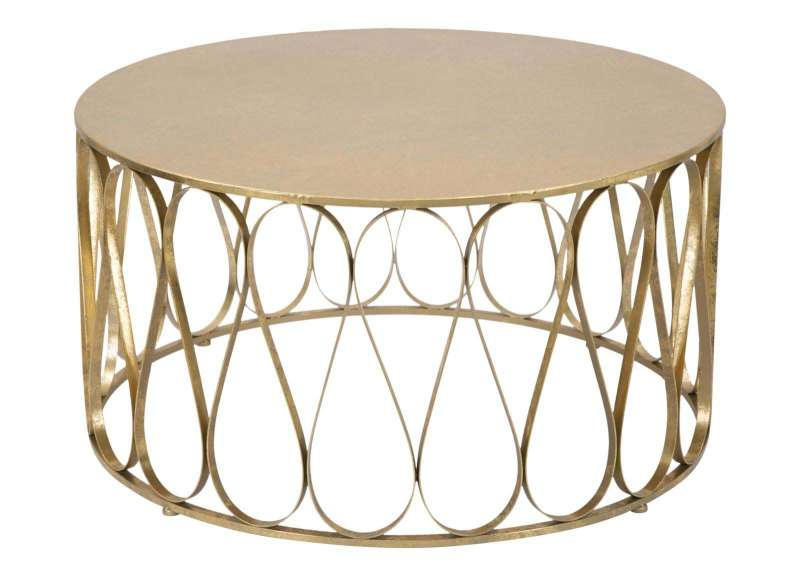 Masă de cafea Venice, 80x80 cm, metal, auriu poza