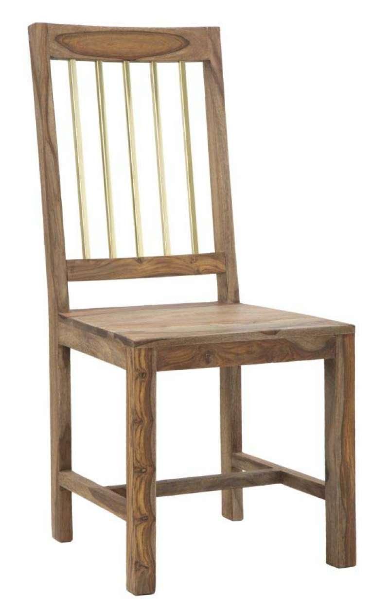 Set 2 scaune Madge, 100x45x50 cm, lemn de sheesham/ metal, auriu/ maro - Resigilat poza