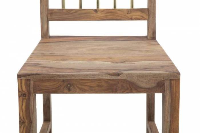 Set 2 scaune Madge, 100x45x50 cm, lemn de sheesham/ metal, auriu/ maro - Resigilat