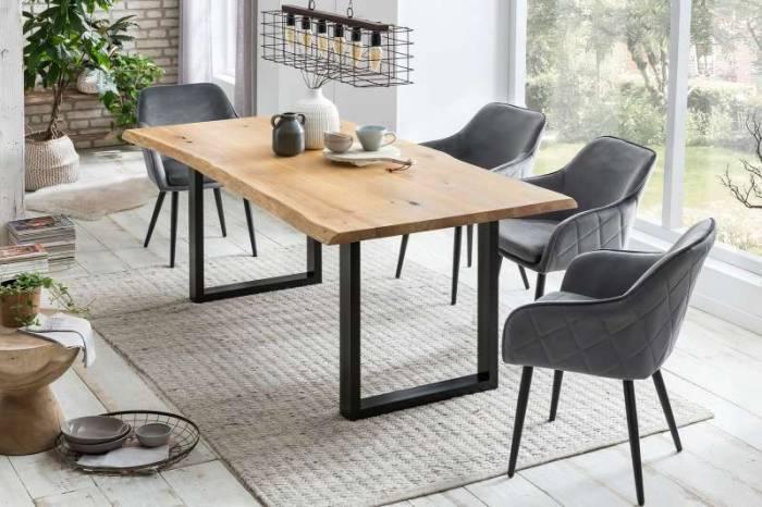 Masă de dining Brooklyn, 75x100x220 cm, lemn/ metal, negru/ maro - OLD