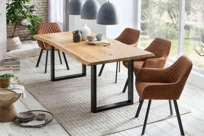 Masă de dining Brooklyn, 75x80x120 cm, lemn/ metal, negru/ maro - OLD