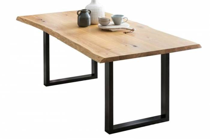Masă de dining Brooklyn, 75x80x140 cm, lemn/ metal, negru/ maro - OLD